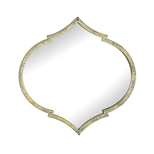 MY SPARK Bathroom Wall Spades-Shaped Mirror Wall-Mounted Teardrop-Shaped with Gold Iron Frame -
