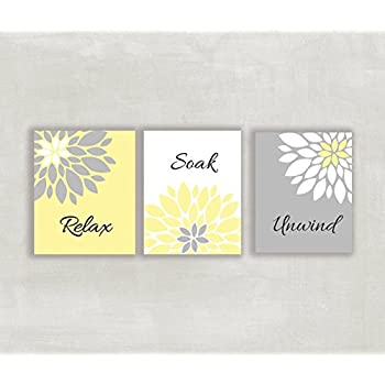 Relax Soak Unwind Floral Wall Art In Yellow Gray And White Set Of 3 8x10  Prints