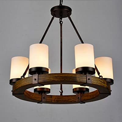 LightInTheBox Vintage Old Wood Wooden Chandeliers Painting Finish Country Rustic Pendant Uplight Chandelier Lighting Lamp For Dining Room, Living Room