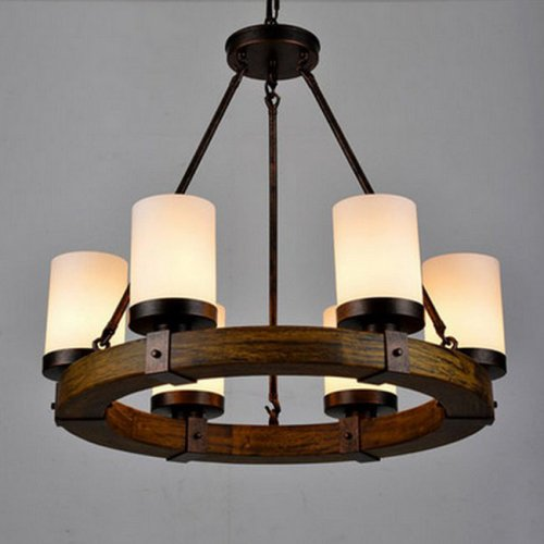 LightInTheBox Vintage Old Wood Wooden Chandeliers Painting Finish Country Rustic Pendant Uplight Chandelier Lighting Lamp For Dining Room Living Room