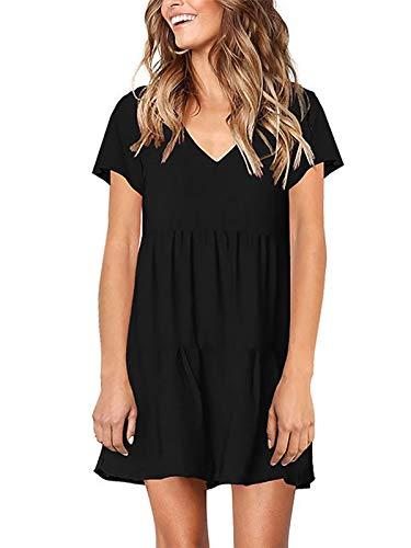 Lannychic Women's Short Sleeve Tunic Dress V Neck Ruffle Loose Mini Dress Swing Shift Dresses - Black XL