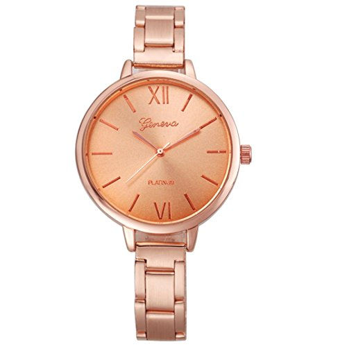 ZLOLIA Geneva Fashion Women Small Steel Band Analog Quartz Wrist Watch Watches (Rose Gold) Rose Gold White Wrist Watch