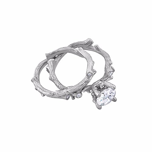14K White Gold Tree Branch Non Traditional Forever One Moissanite Diamond Engagement Ring