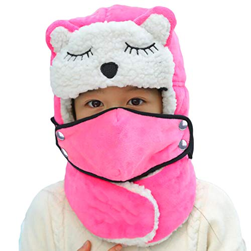 Cartoon Winter Hats Ski Cap for Kids Girls Boys Windproof Thermal Fleece Trapper Hat Outdoor Russian/Aviator Cap with Ear Flaps Face Mouth Mask Neck Warmer (Pink)