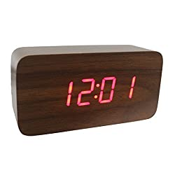 Dianoo Fashion Square Mini Brown Wood Grain Red LED Light Alarm Clock with Time and Temperature Display & Sound Control - USB/AA Battery Powered (Brown Wood + Red Light)