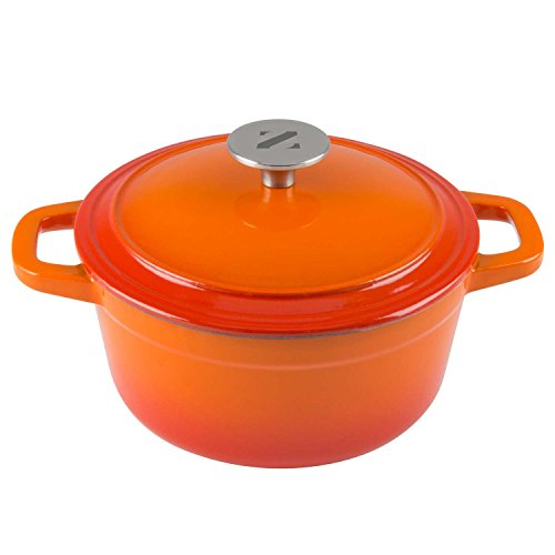 Zelancio 3 Quart Cast Iron Enamel Covered Dutch Oven Cooking Dish with Skillet Lid in Orange