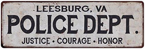 LEESBURG, VA POLICE DEPT. Vintage Look Metal Sign Chic Decor Retro - Corner Leesburg