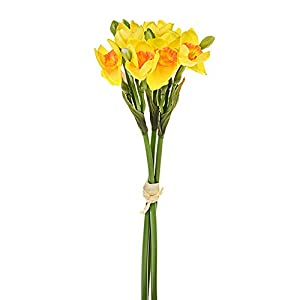 FloristryWarehouse Daffodil and Bud Artificial Posy 13 Inches Yellow 118
