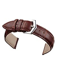 14mm Brown Leather Watch Band Straps Replacement for Women Genuine Calfskin Alligator Grain