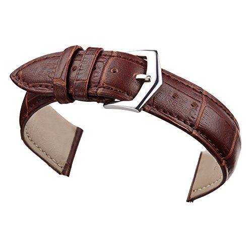14mm Brown Leather Watch Band Straps Replacement for Women Genuine Calfskin Alligator (Ladies Alligator Grain Leather Watch)