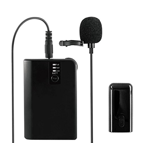 WinBridge WB028 Rechargeable UHF Wireless Lavalier Microphones with easy Clip On System with Bodypack Transmitter Receiver Updated 2 in 1 Charging Cable