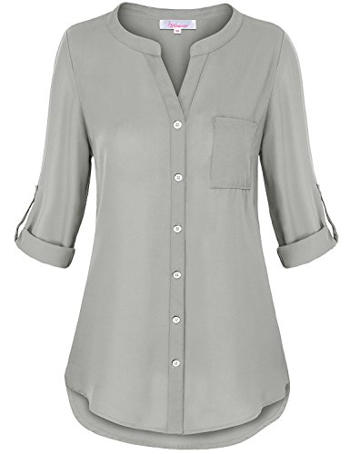 Color Chiffon Blouse - Misswor Button Down Tunic, Womens Tops Cute V Neck 3/4 Cuffed Sleeve Button up Round Hemline Stylish Flowy Solid Color Chiffon Blouse Shirt Grey XXL