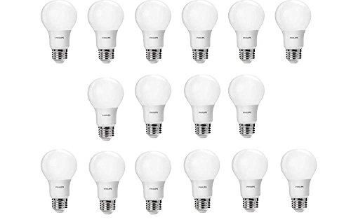 - Philips LED Non-Dimmable A19 Frosted Energy Star Certifed Light Bulb: 800-Lumen, 2700-Kelvin, 8.5-Watt (60-Watt Equivalent), E26 Base, Soft White, 16-Pack