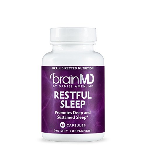 Dr. Amen BrainMD Restful Sleep Dietary Supplement With Melatonin to Support Natural Sleep, Calm and Relaxation - 60 Day Supply