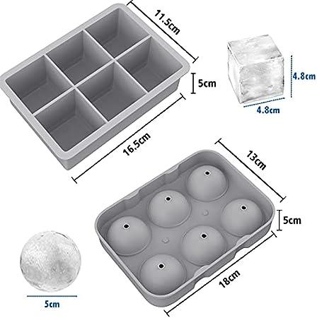 2 Cubitos de Hielo con Tapa Moldes para Cubitos Silicona sin BPA Cuadrado y Redondo Bola de Hielo para Congelar Hielo, Cócteles, Cerveza, Whisky Pinzas y Embudos para Hielo Gris