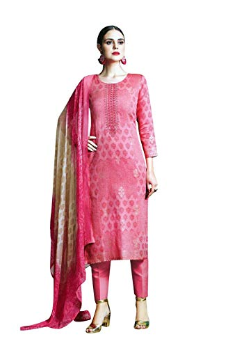 (Ladyline Cotton Embroidered Foil Print Salwar Kameez Suit Indian Dress with Pure Chiffon Dupatta Readymade (Size_34/ Pink))