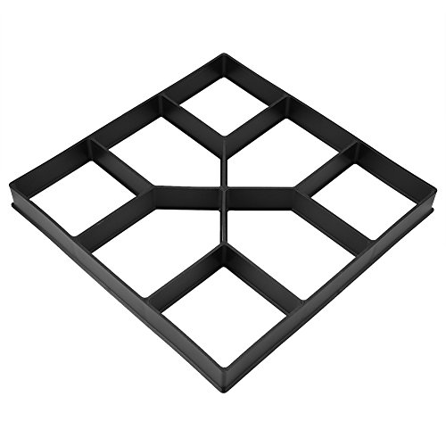 GOTOTOP Garden Pavement Mold, 15.75 x 15.75 inch DIY Path Maker Mold Reusable Concrete Cement Stone Design Paver Walk Maker Mould for Paving Pavement Patio Walkway (Black)