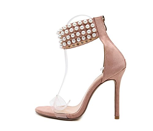 Open 8 Shoes Pearl Sandals KHSKX High Shoes seven Pink With Toed Heels 5Cm Thirty Fine Shoes Women qCtwdPxp