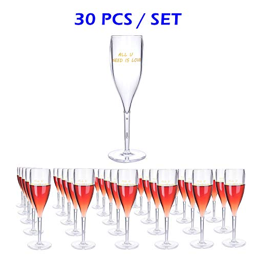 30Pcs Clear Plastic Classicware Glasses |Wine Cups| Champagne Wedding Parties Toasting Flutes-Durable and Multipurpose DISPOSABLE/REUSABLE Cocktail Cups. Ideal for All PARTIES&EVENTS(AVAILABLE IN RED)