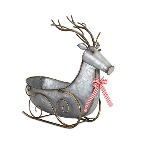 Pack of 2 Metallic Gray and Brown Deer Shaped Sleigh Christmas Decorations 16.5