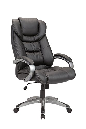 Pacific Chair Heights Leather (Christies Home Living Leather White Stitch Comfortable Adjustable Chairs, Office Chairs, Black)