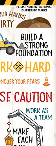 Sagebrush Fine Art Adorable Construction Truck, Digger and Crane Typography Panel Print, Perfect for A Child's Room Or Nursery; One 8x20in Hand-Stretched Canvas