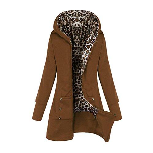 ZANZEA Mujeres Chaqueta Abrigo Larga Con Capucha Zip Jacket Coat Top Blazer Outwear 38_50 camello