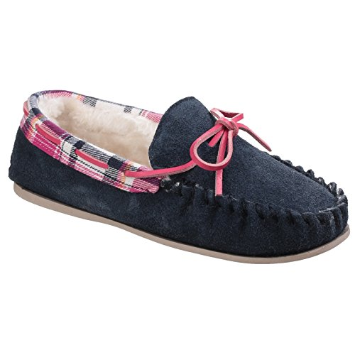 Lined Moccasin ladies Womens Bleu Faux Kilkenny Marine Slippers Suede Fur Cotswold aZqHw7