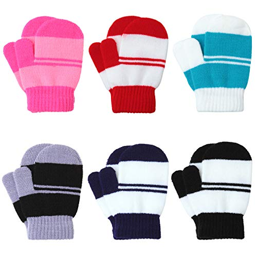 Coobey 6 Pairs Toddler Magic Stretch Mittens Winter Unisex Baby Knitted Gloves Mittens (Mixed Color D, 2-4 Years)