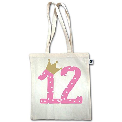 Compleanno Bambino - 12 ° Compleanno Corona Ragazza Dodicesimo - Unisize - Naturale - Xt600 - Manico Lungo Borsa Juta