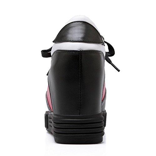 Amoonyfashion Tondo Donna Open Toe Tacco Gattino Misto Materiali Colore Ankle Boots Alti Assortiti Nero