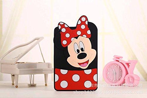 iPad Mini Case,Phenix-Color 3D Cute Soft Silicone Minne [Drop Proof,Shock Proof,Anti Slip] Minne Mouse Monkey Owl Cartoon Gel Rubber Back Cover Case for iPad Mini 1 2 3 (minne red)