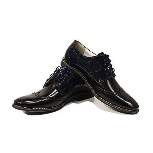 PeppeShoes Modello Crispino - Cuero Italiano Hecho A Mano Hombre Piel Negro Zapatos Vestir Oxfords - Cuero Cuero Suave - Encaje