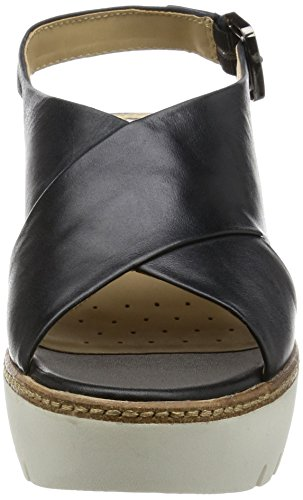 Geox D Domezia C, Sandalias con Cuña para Mujer Negro (BLACKC9999)