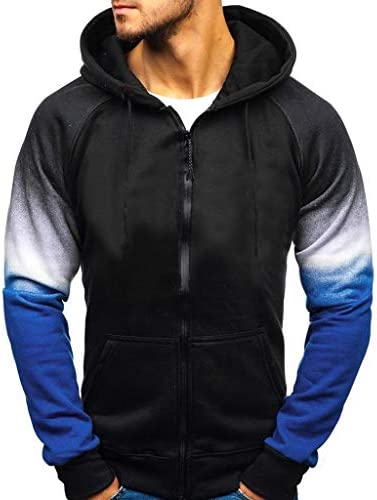 F/_Gotal Patchwork Zipper Up Long Sleeve Hoodies Casual Hooded Pullover Outwear Hoodies for Men Pullover Lightweight