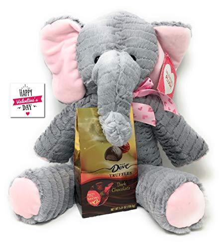 Ropeastar Valentines Day Plush Elephant with Silky Smooth Dove Dark Chocolate Truffles