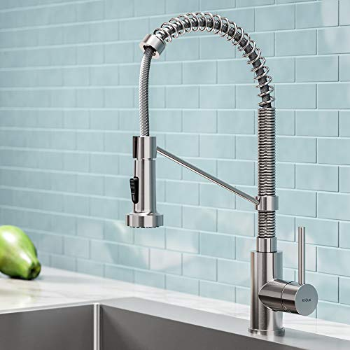 Kraus KPF-1610SS Bolden Single Handle 18-Inch Commercial Kitchen Faucet with Dual Function Pull Down Spray Head Finish Kpf-1610SS, Stainless Steel ()