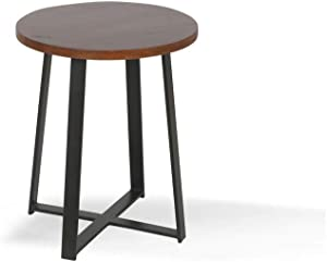 Alveare Home Paige Round Side Table, Brown Medium Tone