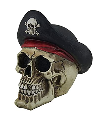 Resin Statues Bony Buccaneer Weathered Finish Pirate Skull Statue 6.5 X 6.5 X 5 Inches Off-White Model # - Skull Head Figurine