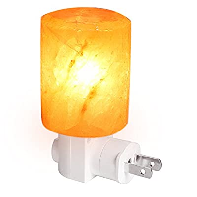 Wishwill Portable Hand Carved Natural Crystal Himalayan Salt Lamp mini Nursery Night Light with Wall Plug for Home Office Living Roon Bathroom Decorations