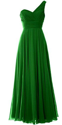MACloth Women One Shoulder Long Bridesmaid Dress Wedding Party Evening Gown Verde