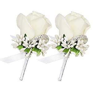 DearHouse 2Pcs Boutonniere Buttonholes Groom Groomsman Best Man Rose Wedding Flowers Accessories Prom Suit Decoration 70