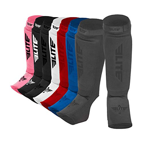 (Elite Sports New Item Protective Kickboxing, MMA, Muay Thai Shin & Instep Guards Leg Pad Training Protective Gear Washable (L-XL, Grey))