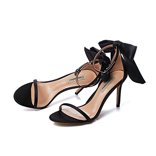 student sandals heels sexy 5cm shoes casual black with 8 Women shoes Size fine Champagne bows high 36 Color wS4YgxgqI