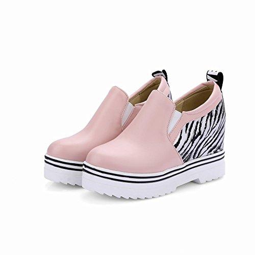 Carolbar Kvinners Zebra Print Fashion Dato Fest Populære Pull-on Plattform Kile Hæl Casual Sko Rosa
