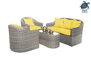 Reef Rattan Nassau 4 Pc Conversation Set - Grey Rattan / Yellow Cushions