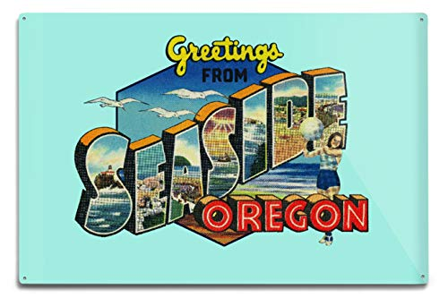 Greetings from Seaside, Oregon - Big Letters - Vintage Postcard - Contour (12x18 Aluminum Wall Sign, Wall Decor Ready to Hang)