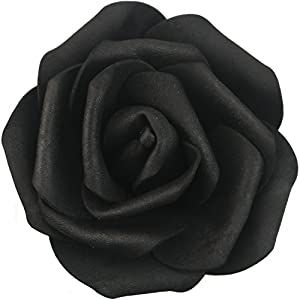Lightingsky 7cm DIY Real Touch 3D Artificial Foam Rose Head Without Stem for Wedding Party Home Decoration (100pcs, Black) 4