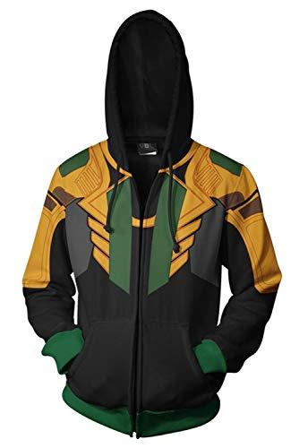Yancos Adult Loki Hoodie Mens Superhero Pullover Sweatershirt