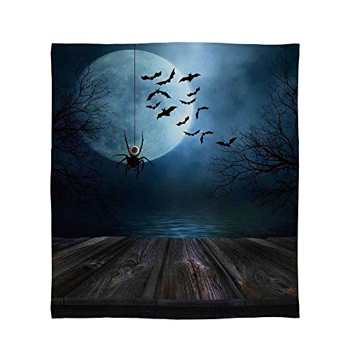 C COABALLA Ultra-Soft Flannel Blanket,Halloween Decorations,for Bed Couch Chair,Size Throw/Twin/Queen/King,Misty Lake Scene Rusty Wooden Deck Spider]()